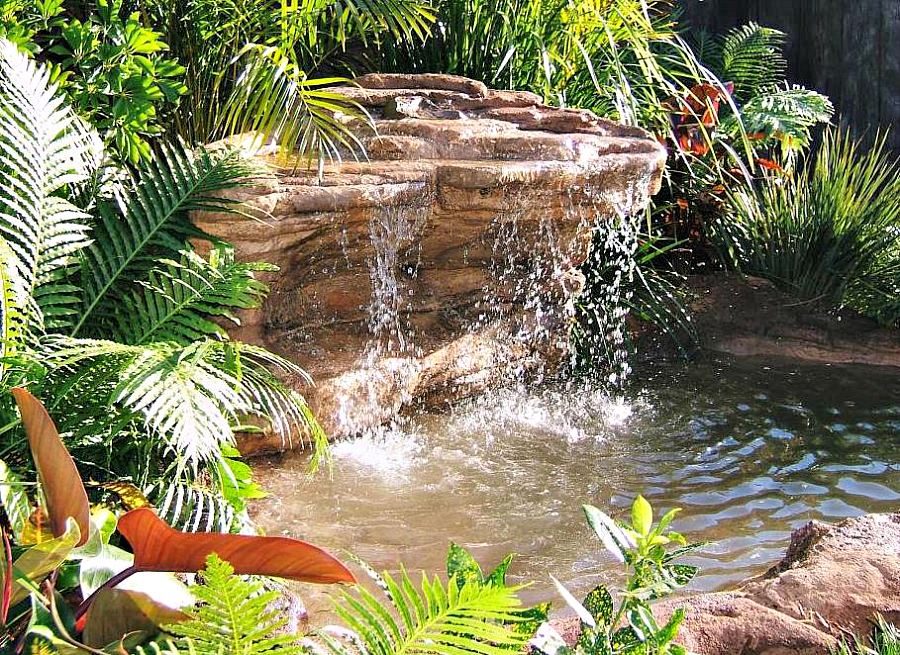 Cave waterfalls decorative backyard rock pond kits for Ornamental pond waterfall