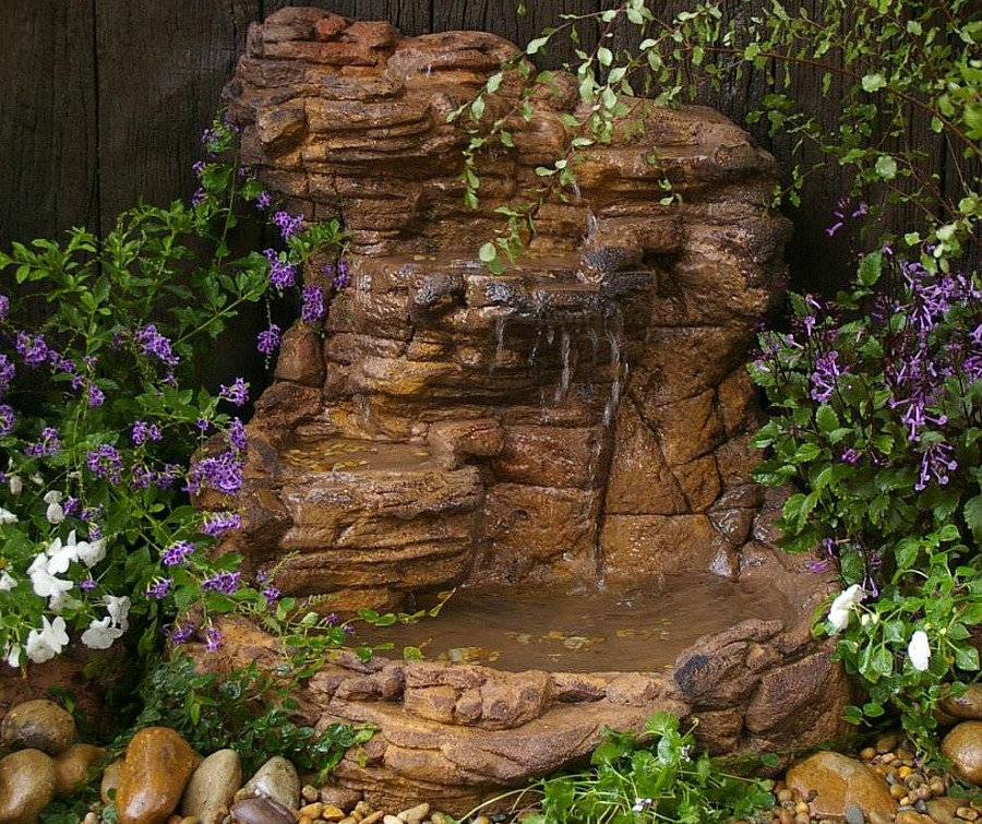 Small garden waterfall pond kits water features fountains for Garden waterfall