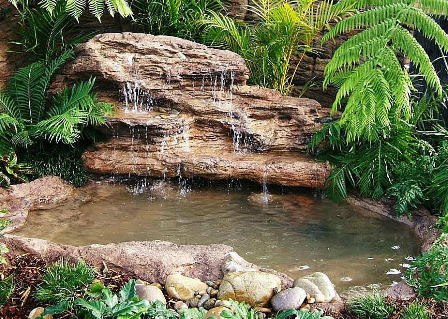 Large backyard landscape pond waterfall kits fake rocks for Yard ponds and waterfalls