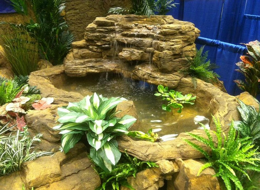 Large backyard pond corner waterfall kits artificial rocks for Garden pond supplies