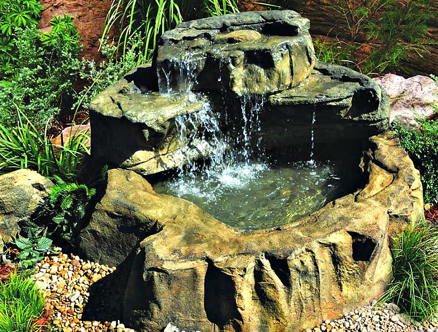 medium patio pond waterfalls rock kit: diy patio pond