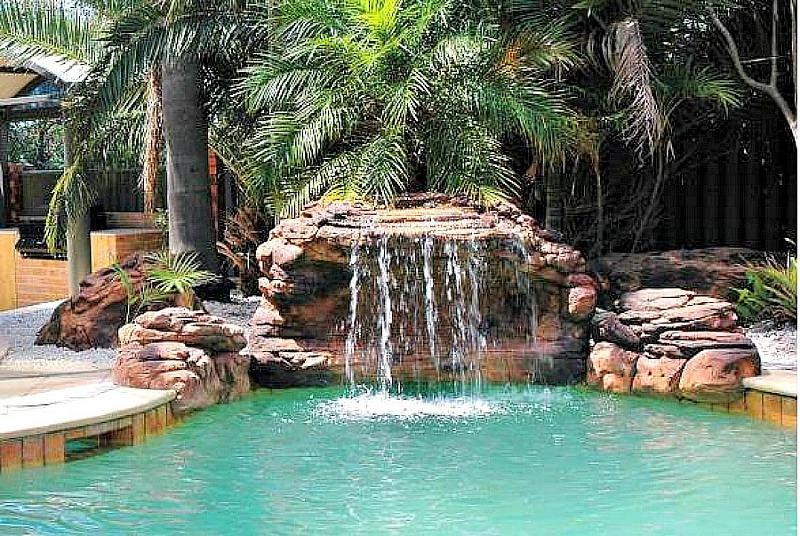 Oasis swimming pool waterfalls kits fake rocks fountains for Waterfall features